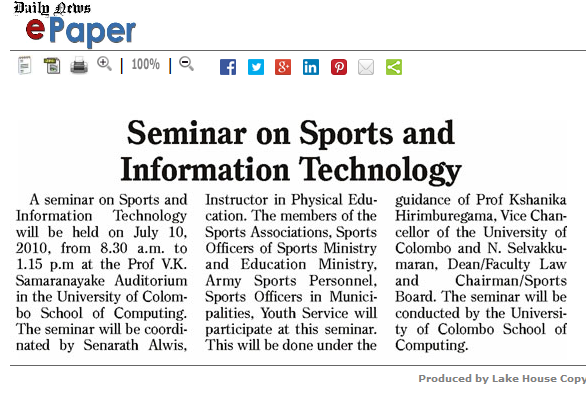 Daily News – Sports, 08th July 2010 – Seminar on Sports and Information Technology