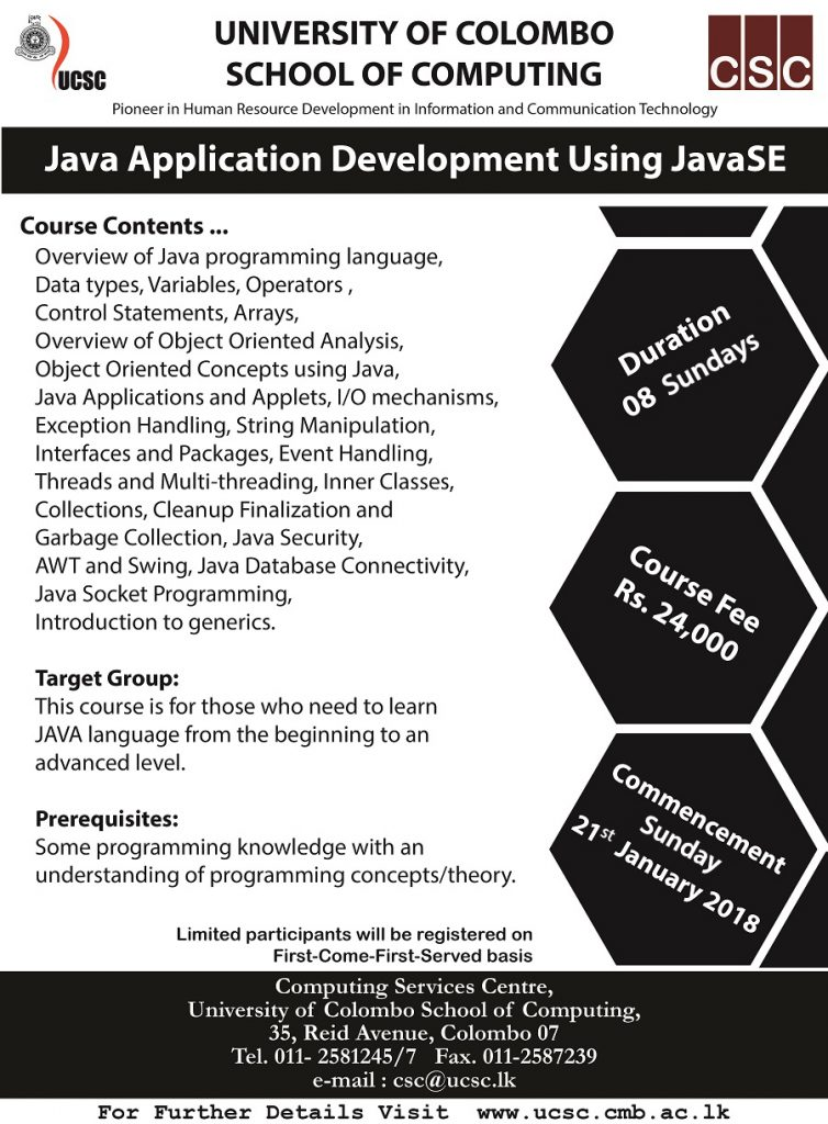 Training Course on Java Application Development Using JavaSE