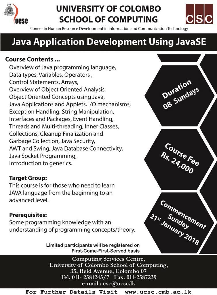 Training Course on Java Application Development Using JavaSE
