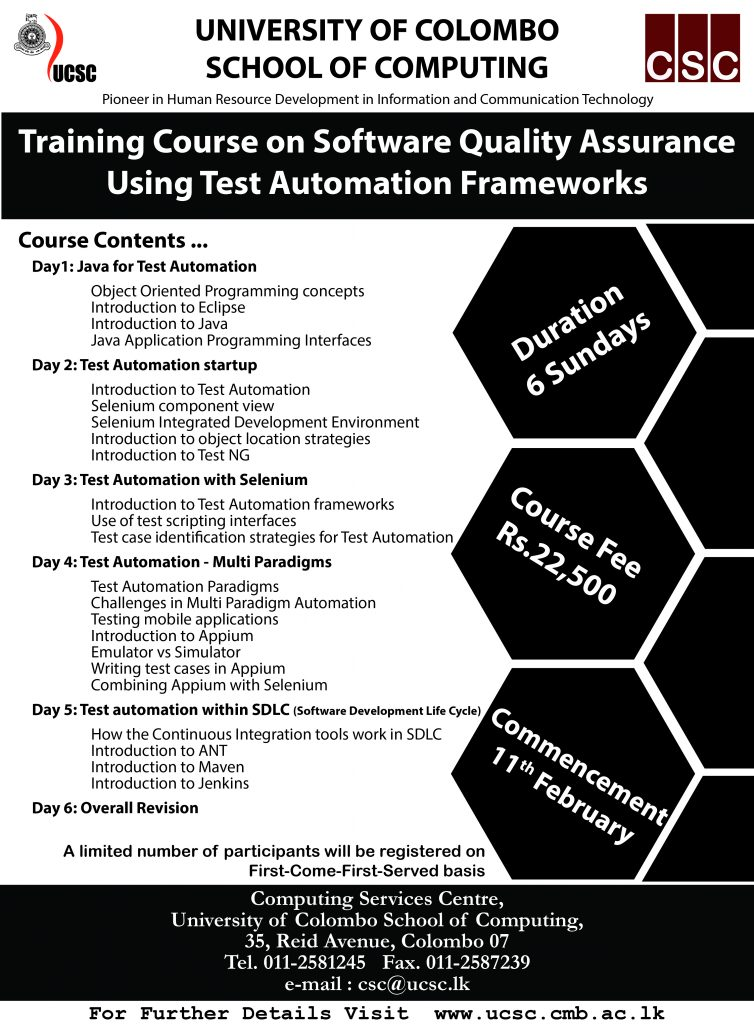 Training Course on Software Quality Assurance Using Test Automation