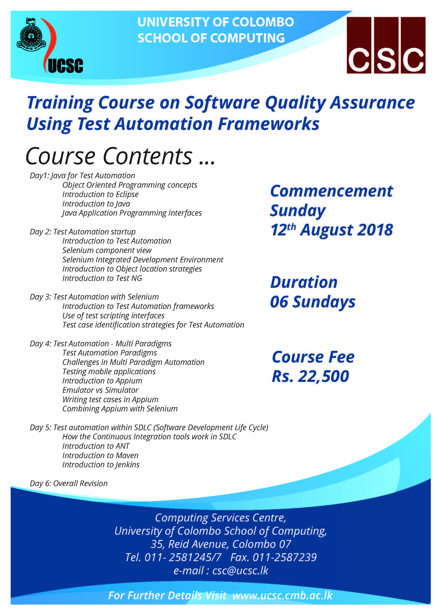 Training Course on Software Quality Assurance using Test