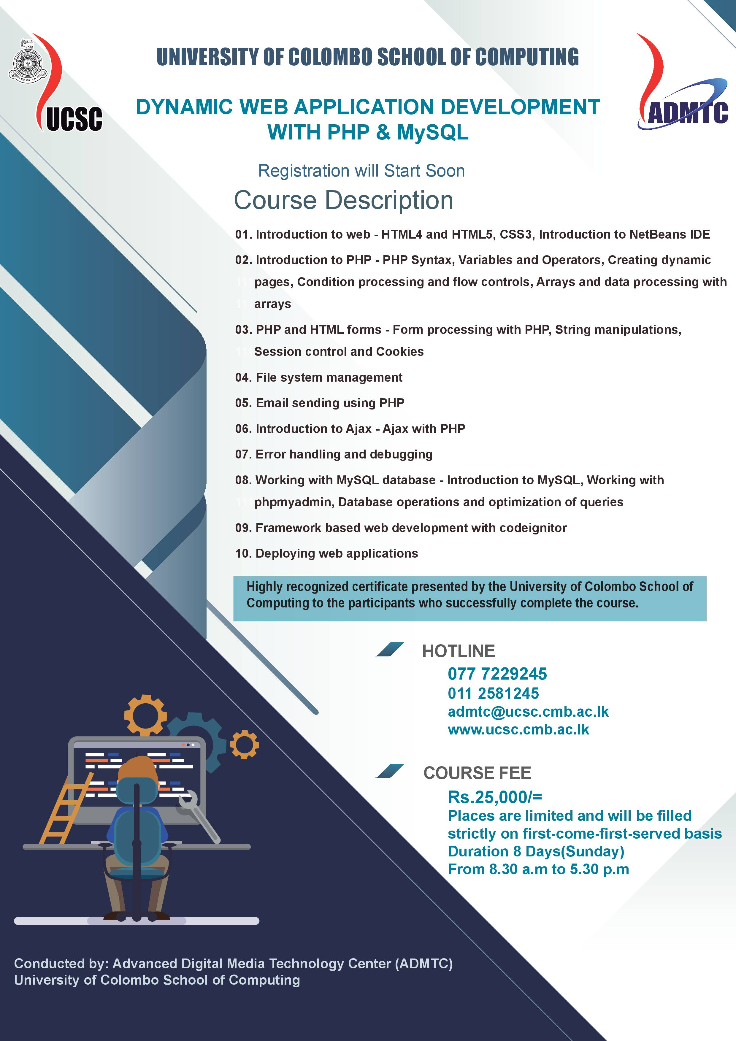 1ee884b722a31 Registration for the Certificate Courses on Dynamic Web Application  Development with PHP   MySQL will Start Soon
