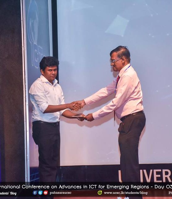 International Conference on Advances in ICT for Emerging Regions (ICTer) 2018 – Best Paper Award
